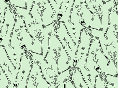 Don't Waste your time drawing pen ink motivational phrase flowers skull procreate ipad pro illustration pattern seamless pattern