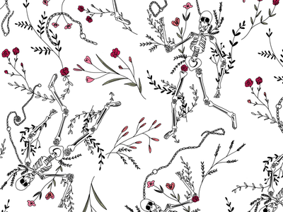 Camouflage black and white pattern seamless pattern nature flowers skulls