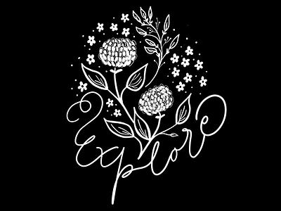 Explore botanical floral typography black flowers lettering chalkboard