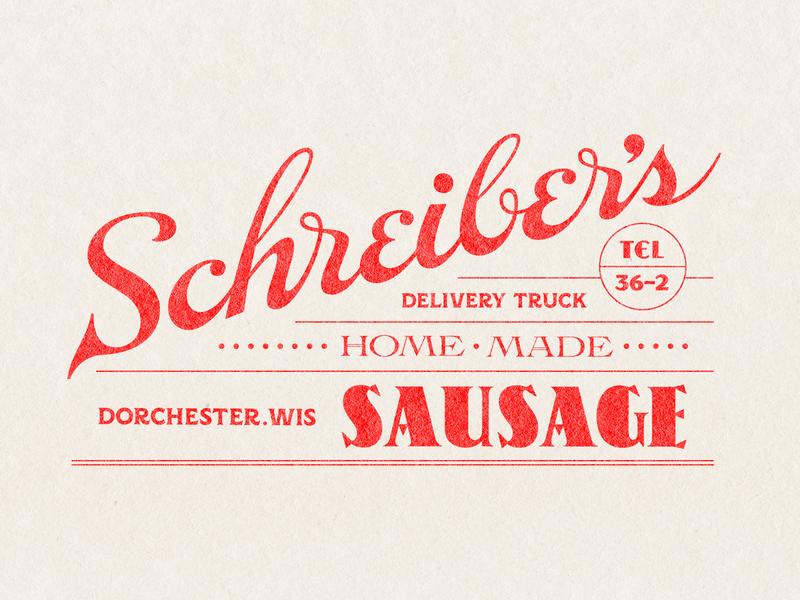 Schreiber's Sausage label design lockup typogaphy lettering branding