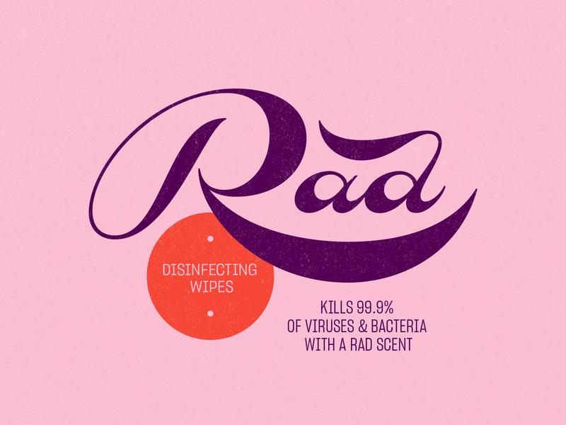 Rad Disinfecting Wipes label branding logo lockup design lettering