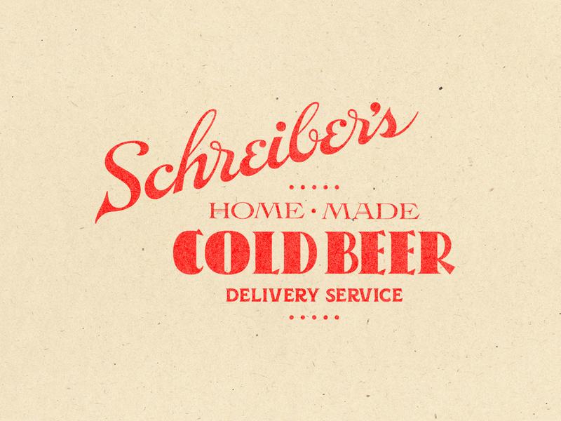 Schreiber's Cold Beer Delivery label lettering logo beer branding typography