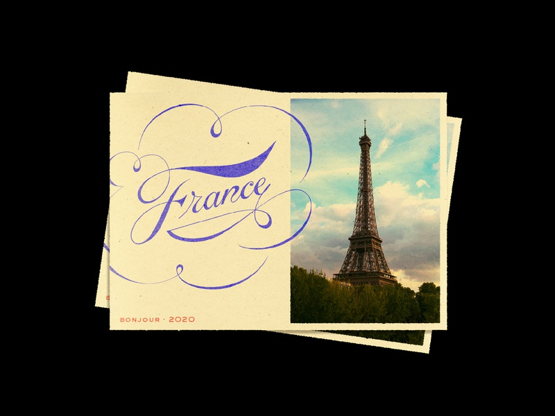 France Postcards type typography photography