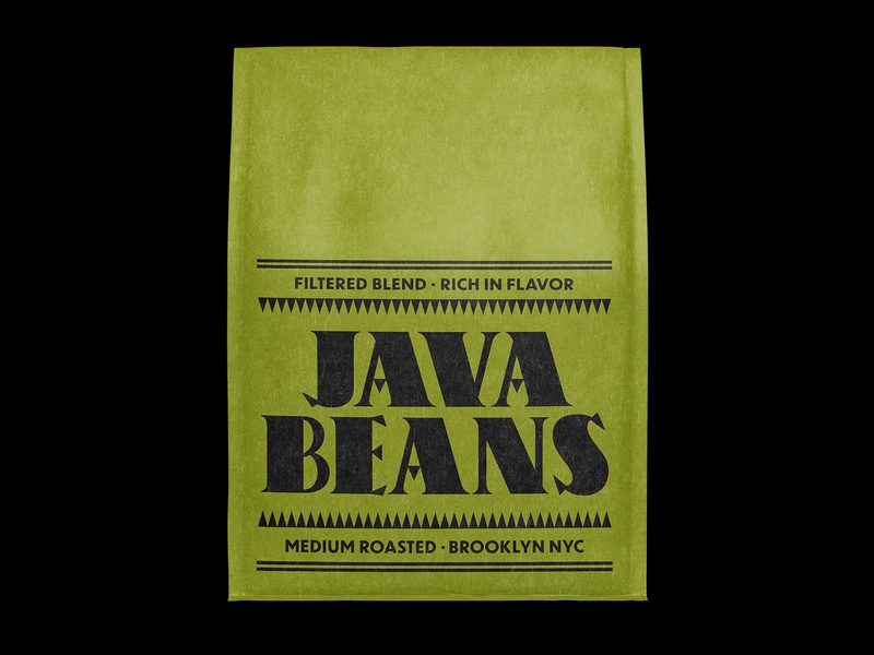Java Beans Medium Roasted coffee packaging type label logo lockup design branding