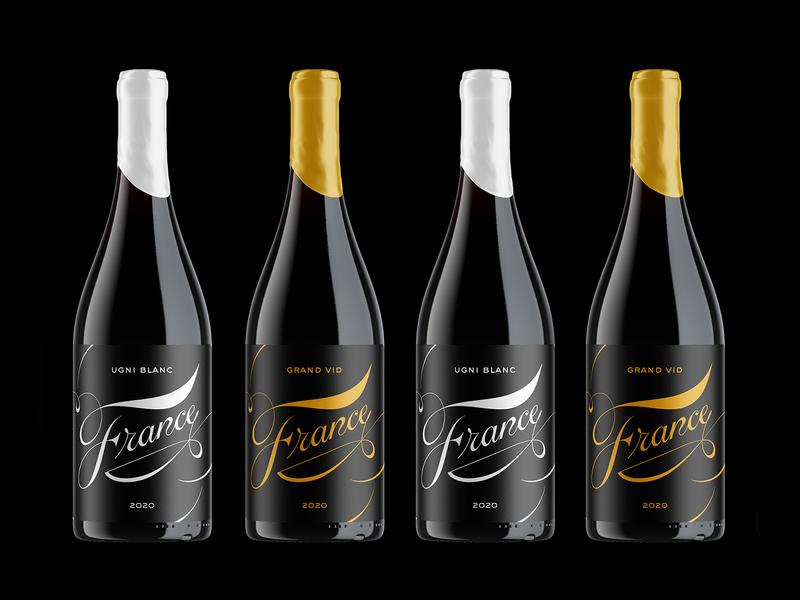 France Wine packaging logo lettering typography design branding