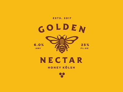 Golden Nectar honeycomb lockup badge icon illustration honey bee beer label branding
