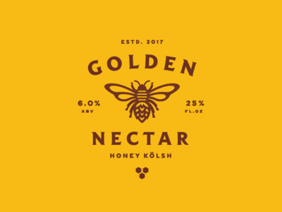 Golden Nectar honeycomb lockup badge icon illustration honey bee beer label branding
