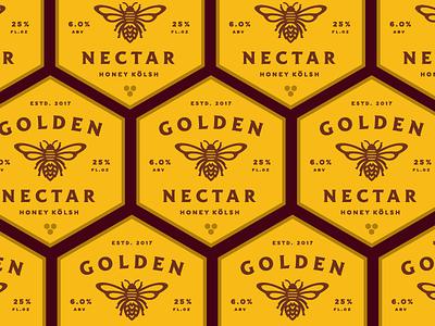Golden Nectar Labels lockup badge icon illustration honey bee beer label branding