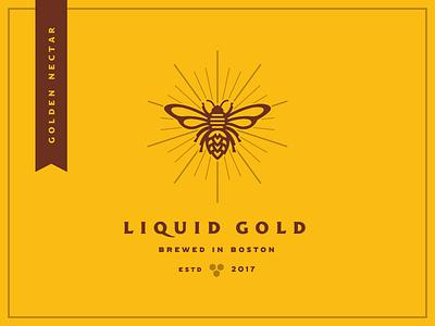 Golden Nectar lockup badge icon illustration honey bee beer label branding