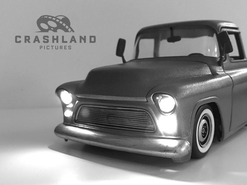 Crashland Pictures ufo vintage title branding logo truck model sequence