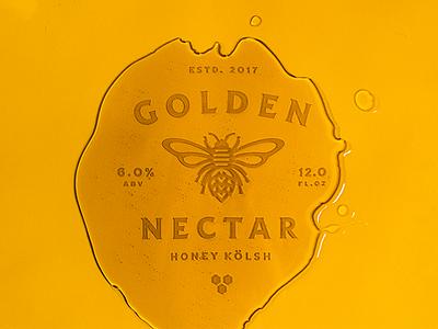 Golden Nectar honeycomb branding label beer bee honey illustration icon badge lockup