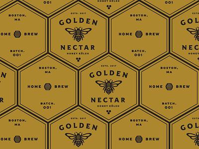 Golden Nectar Coasters coasters lockup badge icon illustration honey bee beer label branding
