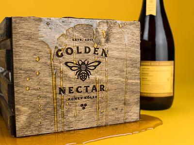 Golden Nectar packaging wood lockup badge icon illustration honey bee beer label branding