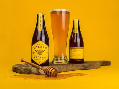 Golden Nectar bottle lockup badge icon illustration honey bee beer label branding