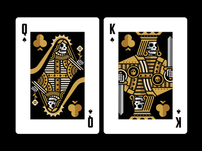 Playing Cards skull spades diamonds clubs heart icons design illustration playing cards