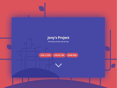 Jony's Project red blue web website scroll