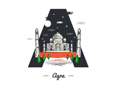A ~ Agra theydrawandtravel sheherseries pirategraphic illustree illustration graphicdesigncentral designspiration designmilk artandfound adobe @36daysoftype 36days-a