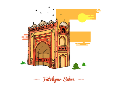F ~ Fatehpur Sikri. theydrawandtravel sheherseries pirategraphic india illustree illustration graphicdesigncentral designspiration designmilk adobe @36daysoftype 36day-f
