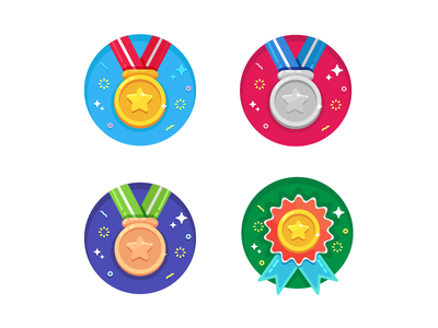 Badge Illustrations vector play notification interaction iconography  illustration graphic design medals bronze silver gold sports badges