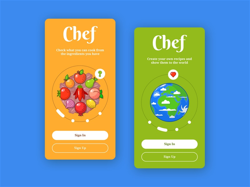 Chef Onboarding - Part 1 mobile protopie sweet colorful illustration ui onboarding