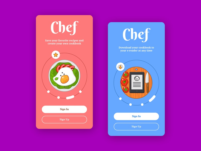 Chef Onboarding - Part 2 mobile protopie sweet colorful ui illustration onboarding