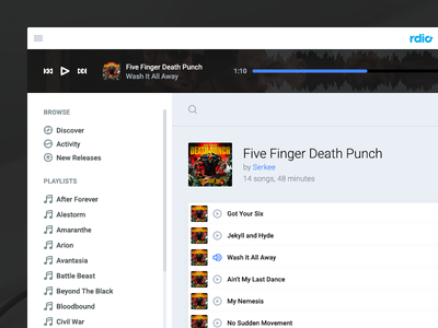 Rdio Player redesign clean minimal player music rdio