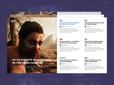 Horizon News menu comments fullscreen news minimal ui steam launcher gaming games blog horizon