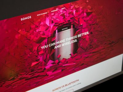 Sonos store shop ecommerce dropdown menu icons logo navigation minimal landing music sonos