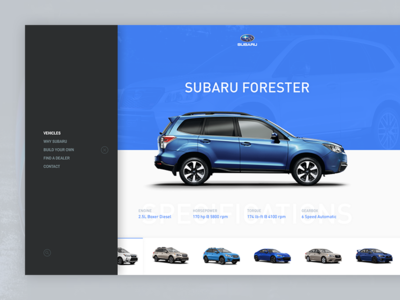 Subaru Redesign ecommerce store light dark icons search dealer navigation minimal cars menu subaru