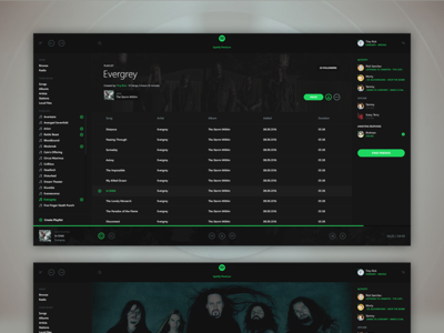 Spotify ux ui concept streaming stream rock metal app minimal player music spotify