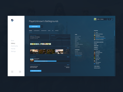 Steam Library gog origin settings online play statistics list pubg gaming games library steam
