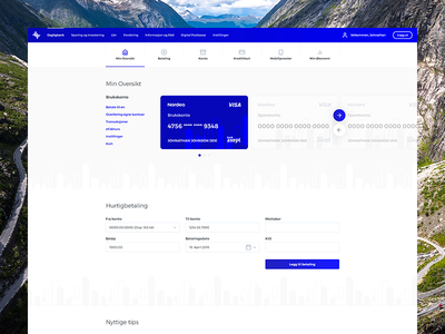 Nordea payment finance minimal dashboard account card credit backend admin bank nordea