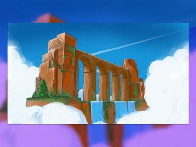 Sketches of the bridge   FF рисунок моста for fun практика мост sketch illustration waterfall draw design bridge banner