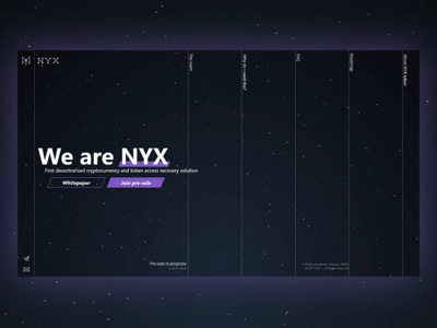 NYX   Main   Previous Version full screen main page website web site landing stars ico business bitcoin