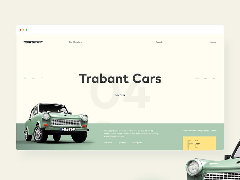 Trabant Cars ecommerce shop web fluxus ux ui old retro yellow green cars trabant