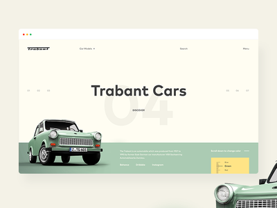 Trabant Cars ecommerce shop web fluxus ux ui old retro yellow green cars trabant