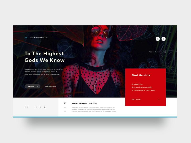 Highest Gods girl ui ux web design flat layout slider comment blog article product