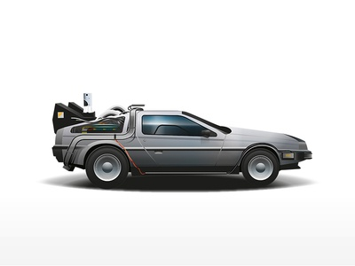 DeLorean DMC-12 (Flux Capacitor version) time machine back to the future eighties 80s vector car film