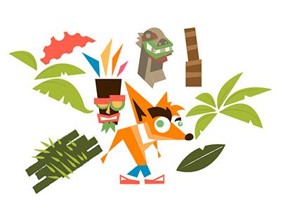 Crash Bandicoot WIP naughty dog aku aku crash bandicoot illustration vector wip nsane