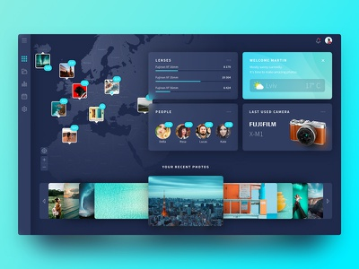 The concept of Dashboard for Photographers dark clean web ux ui fuji photo map location graphic dashboard concept