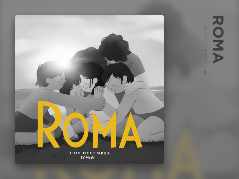 MOVIE_ROMA modern flat illustration roma poster movie poster movie 平面 布局 设计 插图