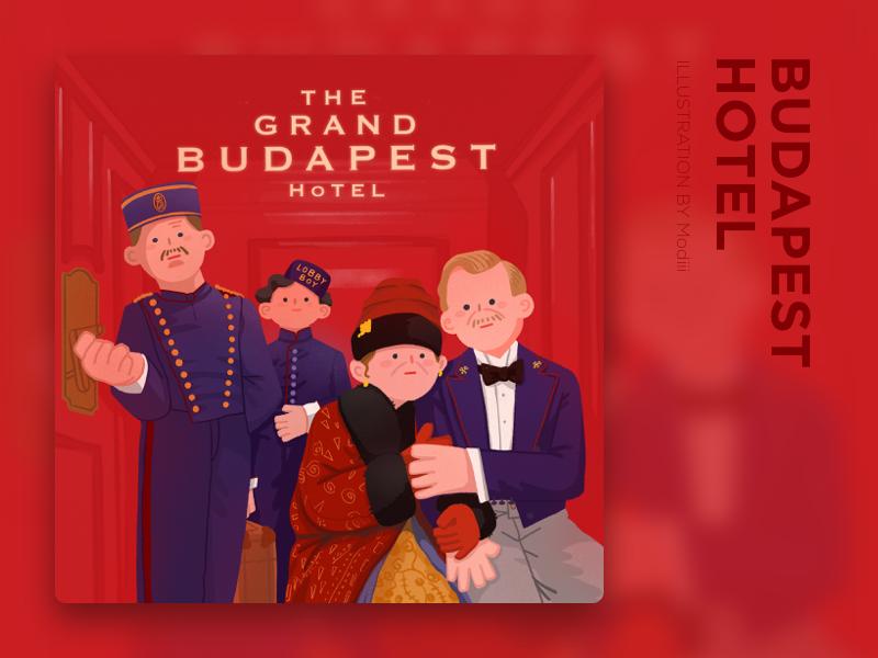 Movie_Budapest Hotel poster hotel movie red 平面 布局 设计 插图