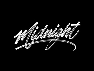 Midnight chisel tip raster type typography ligatures texture lettering handlettering copic photoshop script midnight
