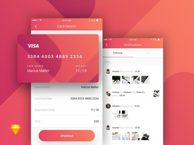 Payment & Activity Notifications Screen
