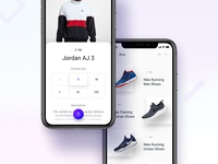 Product and sneakers shop/store iOS screens