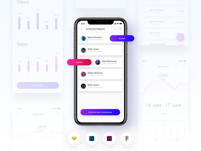 Brake UI Kit 2.0 - Social media network friend requests template screen activity figma xd sketch free ui kit ux ui