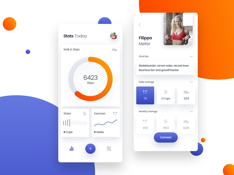 Workout stats & profile mobile app screens