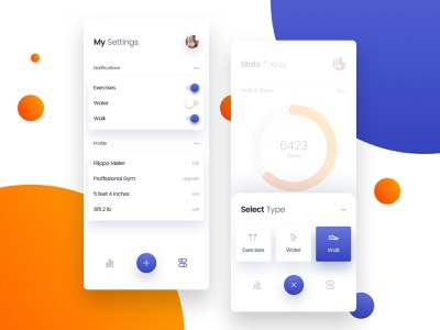 Workout settings & add new mobile app screens gym walk fitness workout figma adobe xd photoshop minimal dashboard user experience sketch ios design app ui kit ux ui