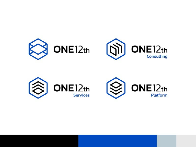 ONE12th Logos 1 hexagon logo cube logo tech identity tech logo modern identity modern logo visual identity brand identity logo design logo blue modern cube hexagon tech consulting services automation business data