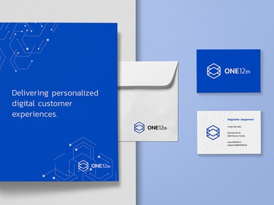 ONE12th Collaterals 1 hexagon logo cube logo tech identity tech logo modern identity modern logo visual identity brand identity logo design logo blue modern cube hexagon tech consulting services automation business data